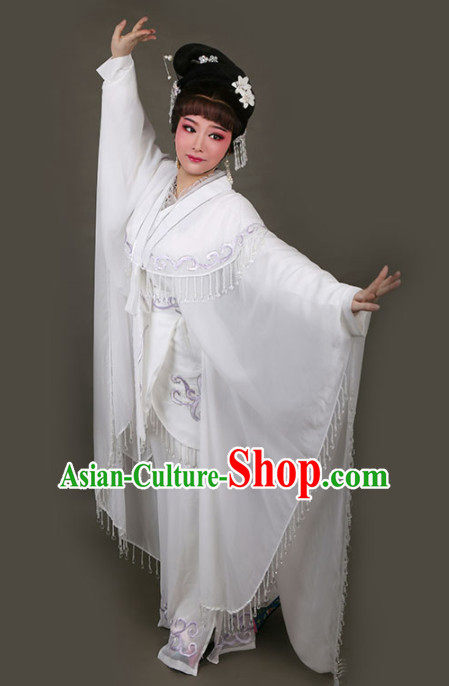 Chinese Traditional Peking Opera Actress Embroidered White Dress Ancient Swordswoman Bai Suzhen Costume for Women