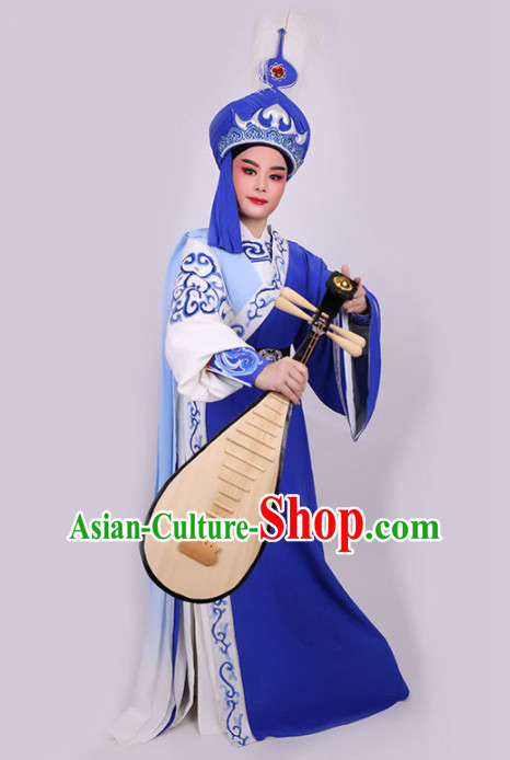 Chinese Traditional Beijing Opera Niche Royalblue Robe Ancient Prince Swordsman Costume for Men