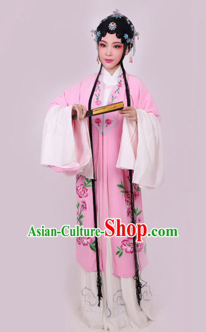 Chinese Traditional Peking Opera Diva Pink Dress Ancient Court Princess Embroidered Costume for Women