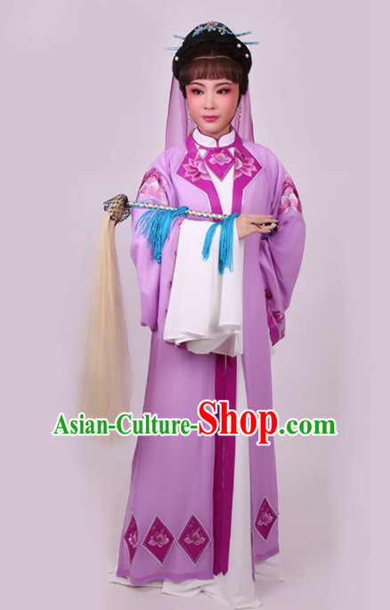 Chinese Traditional Peking Opera Diva Purple Dress Ancient Taoist Nun Embroidered Costume for Women