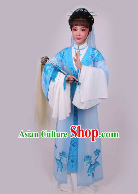 Chinese Traditional Peking Opera Diva Blue Dress Ancient Taoist Nun Embroidered Costume for Women
