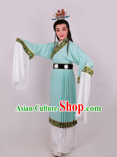 Chinese Traditional Beijing Opera Niche Jia Baoyu Green Robe Ancient Scholar Nobility Childe Costume for Men