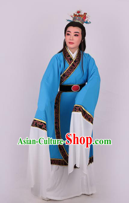 Chinese Traditional Beijing Opera Niche Jia Baoyu Blue Robe Ancient Scholar Nobility Childe Costume for Men
