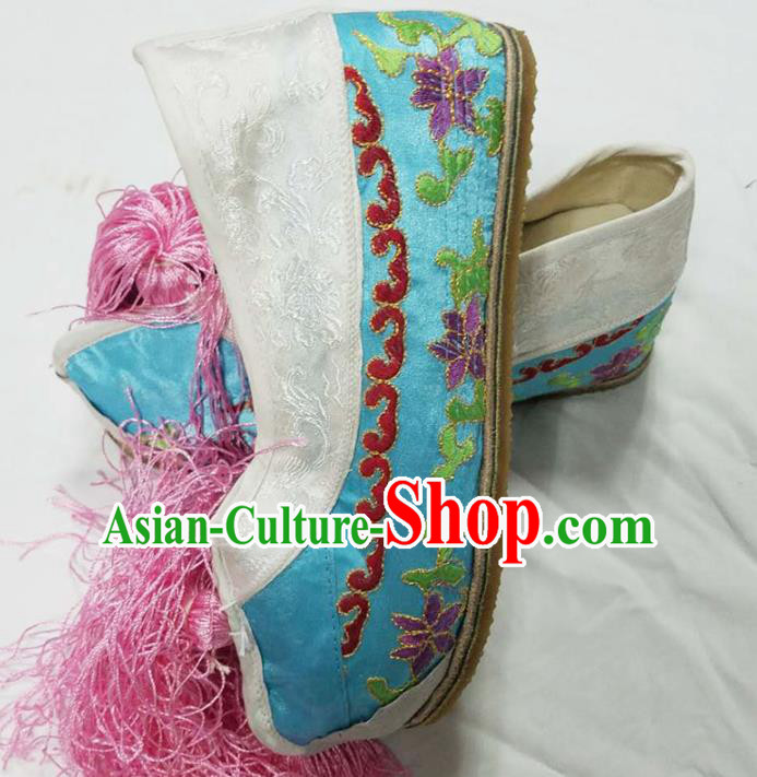 Chinese Ancient Court Princess Hanfu Light Blue Blood Stained Shoes Traditional Beijing Opera Diva Embroidered Shoes for Adults