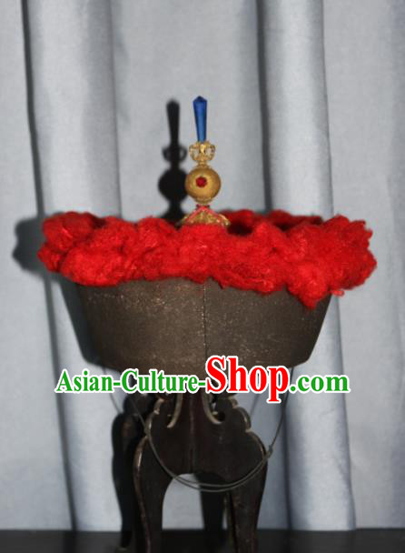 Chinese Ancient Drama Emperor Hat Traditional Qing Dynasty Manchu Headwear for Men