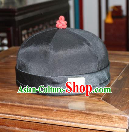Chinese Ancient Drama Emperor Black Hat Traditional Qing Dynasty Manchu Headwear for Men