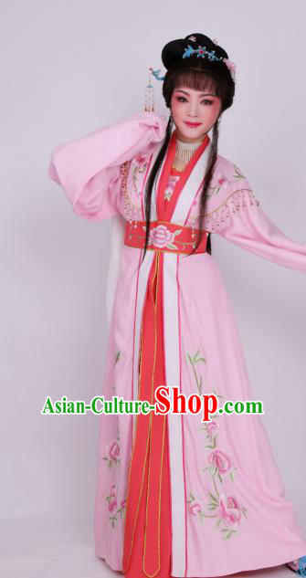 Chinese Traditional Opera Nobility Lady Pink Dress Ancient Beijing Opera Diva Embroidered Costume for Women