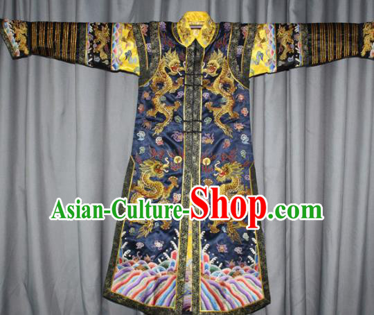 Chinese Traditional Drama Manchu Empress Embroidered Navy Dress Ancient Qing Dynasty Queen Costume for Women
