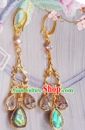 Chinese Ancient Palace Princess Golden Earrings Traditional Hanfu Jewelry Accessories for Women