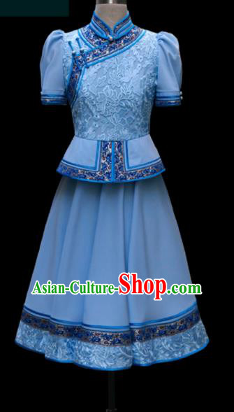Traditional Chinese Mongol Ethnic Blue Dress Mongolian Minority Folk Dance Clothing for Kids