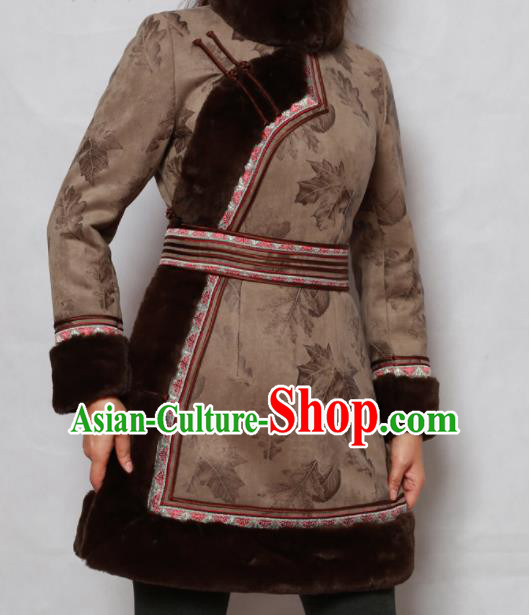 Traditional Chinese Mongol Ethnic Brown Cotton Wadded Jacket Mongolian Minority Folk Dance Costume for Women