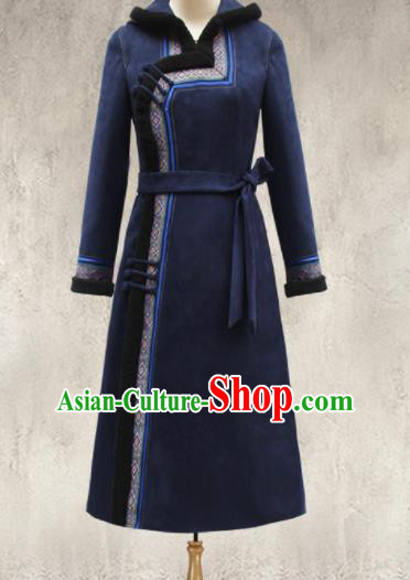 Traditional Chinese Mongol Ethnic Navy Cotton Wadded Coat Mongolian Minority Folk Dance Costume for Women