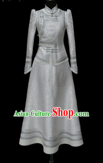 Traditional Chinese Mongol Ethnic Wedding White Dress Mongolian Minority Folk Dance Costume for Women
