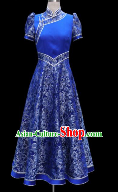 Traditional Chinese Mongol Ethnic National Wedding Royalblue Dress Mongolian Minority Folk Dance Costume for Women