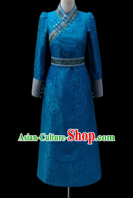 Traditional Chinese Mongol Ethnic National Blue Dress Mongolian Minority Folk Dance Costume for Women