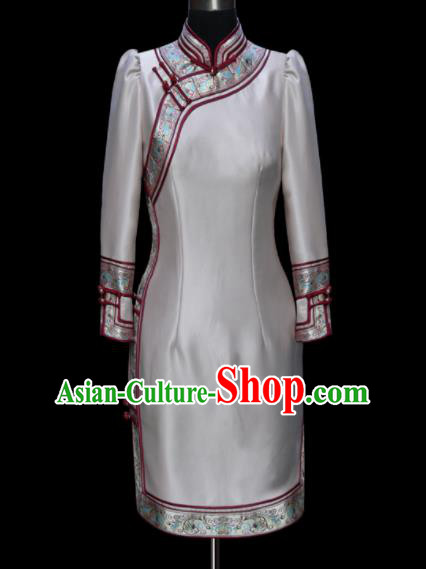 Traditional Chinese Mongol Ethnic National Grey Brocade Dress Mongolian Minority Folk Dance Costume for Women