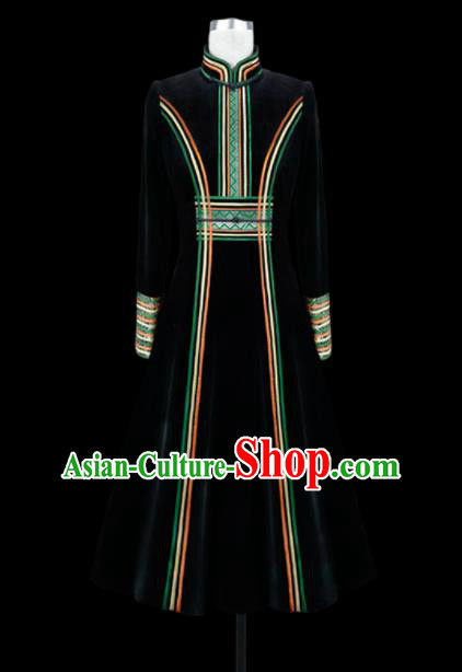 Traditional Chinese Mongol Ethnic National Black Velvet Dress Mongolian Minority Folk Dance Costume for Women