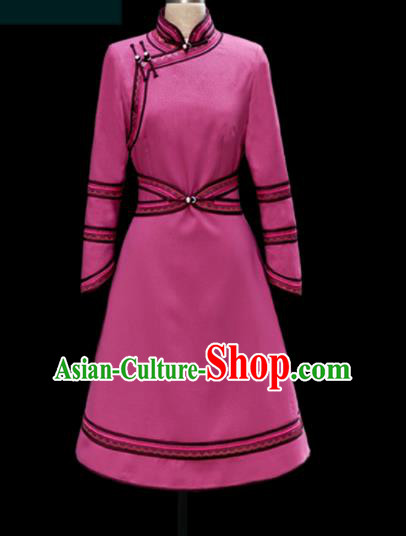 Traditional Chinese Mongol Ethnic Pink Dress Mongolian Minority Folk Dance Embroidered Costume for Women