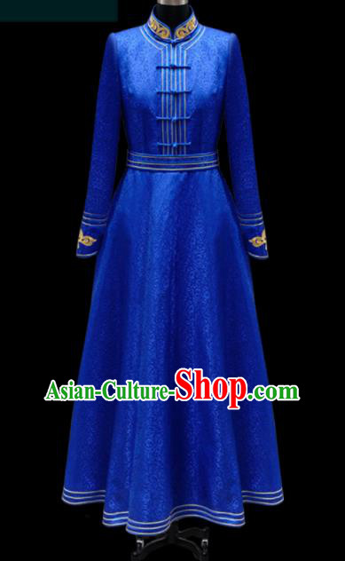 Traditional Chinese Mongol Ethnic Royalblue Dress Mongolian Minority Folk Dance Embroidered Costume for Women