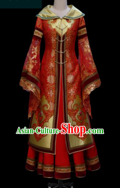 Traditional Chinese Mongol Ethnic Bride Red Dress Mongolian Minority Folk Dance Embroidered Costume for Women