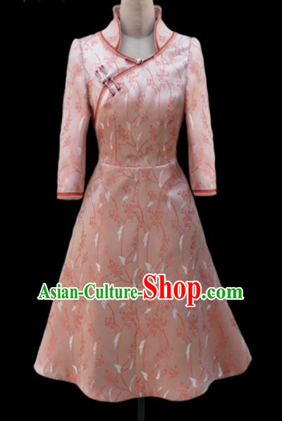 Traditional Chinese Mongol Ethnic National Pink Brocade Short Dress Mongolian Minority Folk Dance Costume for Women
