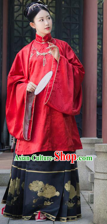 Asian Chinese Ming Dynasty Aristocratic Lady Replica Costume Traditional Ancient Court Hanfu Dress for Women