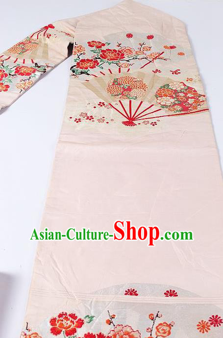 Japanese Ceremony Kimono Classical Peony Fan Pattern Design Beige Brocade Belt Asian Japan Traditional Yukata Waistband for Women