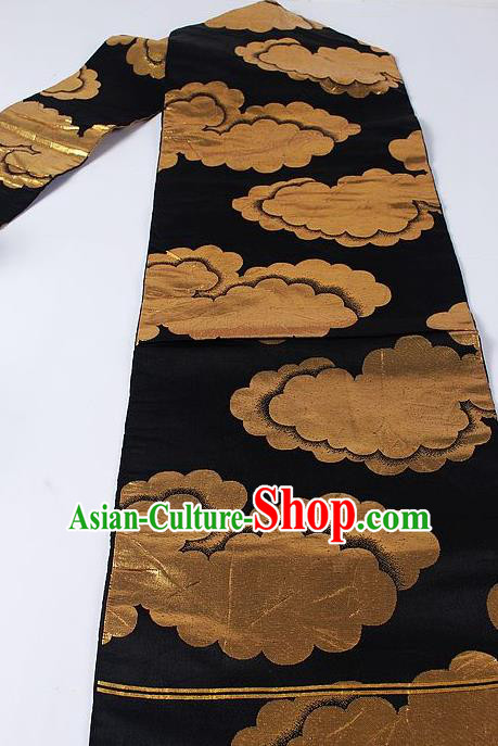 Japanese Ceremony Kimono Classical Clouds Pattern Design Black Brocade Belt Asian Japan Traditional Yukata Waistband for Women