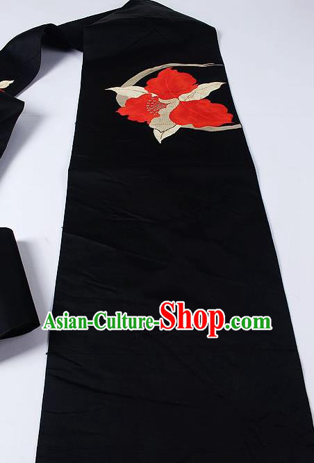 Japanese Ceremony Kimono Classical Red Leaf Pattern Design Black Brocade Belt Asian Japan Traditional Yukata Waistband for Women