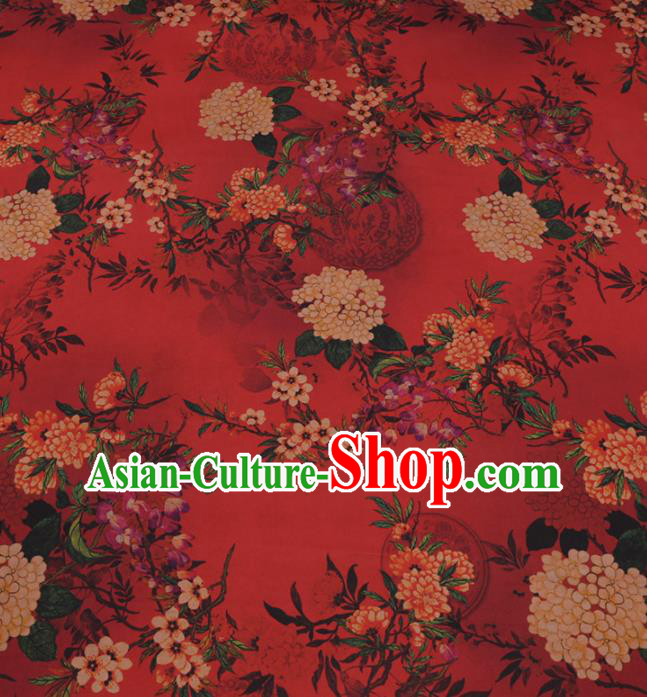 Traditional Chinese Classical Hydrangea Pattern Design Red Gambiered Guangdong Gauze Asian Brocade Silk Fabric