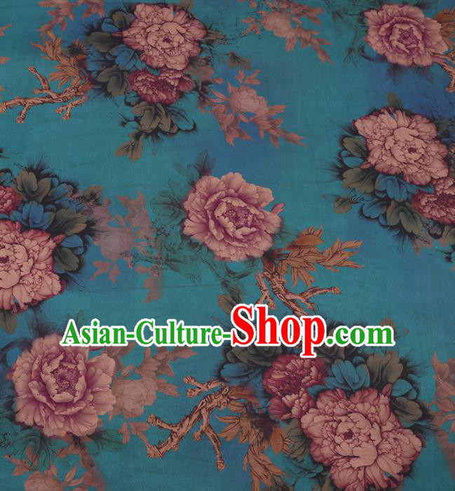 Traditional Chinese Classical Peony Pattern Design Blue Gambiered Guangdong Gauze Asian Brocade Silk Fabric