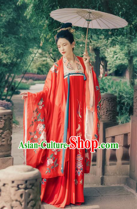 Ancient Chinese Imperial Consort Wedding Red Hanfu Dress Traditional Tang Dynasty Court Embroidered Replica Costume for Women