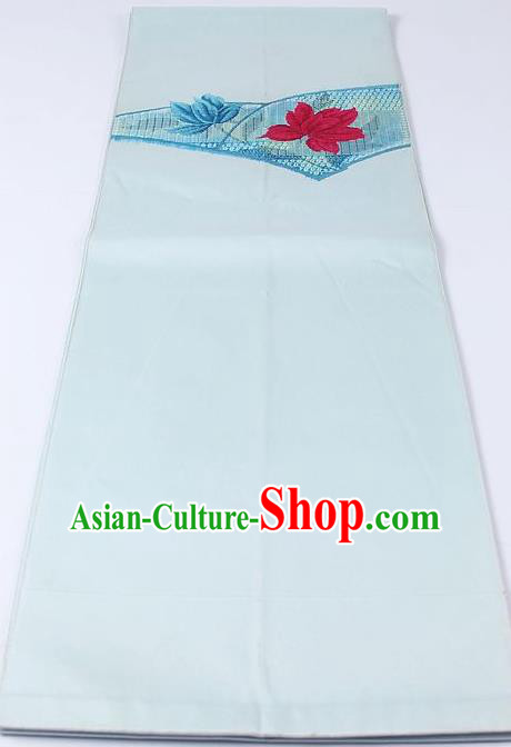 Japanese Kimono Accessories Classical Lotus Pattern Light Blue Belt Asian Japan Traditional Ceremony Yukata Waistband for Women
