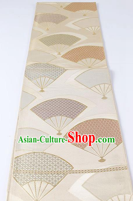 Japanese Kimono Accessories Classical Fans Pattern Beige Belt Asian Japan Traditional Ceremony Yukata Waistband for Women