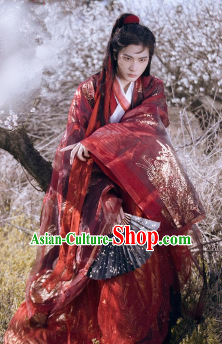 Chinese Ancient Jin Dynasty Nobility Childe Red Hanfu Clothing Traditional Swordsman Embroidered Replica Costume for Men