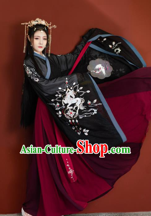 Chinese Traditional Jin Dynasty Imperial Consort Hanfu Dress Ancient Peri Goddess Embroidered Historical Costume for Women