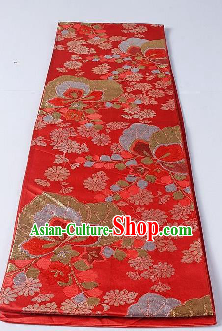 Asian Japanese Yukata Accessories Classical Daisy Pattern Red Brocade Belt Japan Traditional Kimono Waistband for Women