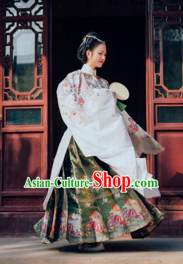 Chinese Ancient Ming Dynasty Court Queen White Hanfu Dress Traditional Empress Embroidered Replica Costume for Women