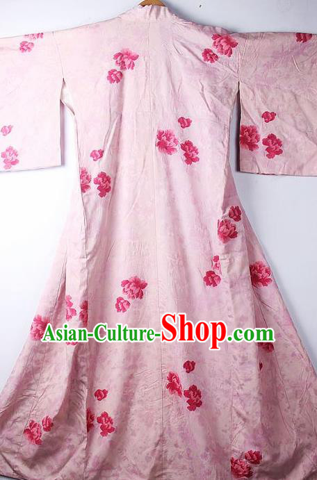 Asian Japanese Ceremony Clothing Classical Peony Pattern Pink Kimono Traditional Japan National Yukata Costume for Men