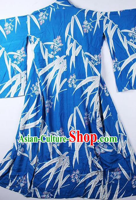 Asian Japanese Classical Bamboo Leaf Pattern Blue Furisode Kimono Ceremony Costume Traditional Japan Yukata Dress for Women