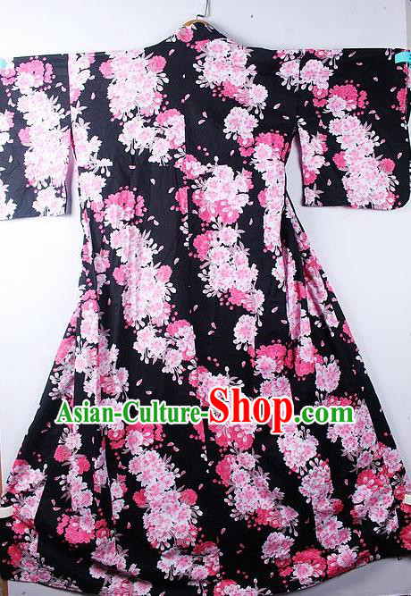 Asian Japanese Classical Peony Pattern Black Furisode Kimono Ceremony Costume Traditional Japan Yukata Dress for Women