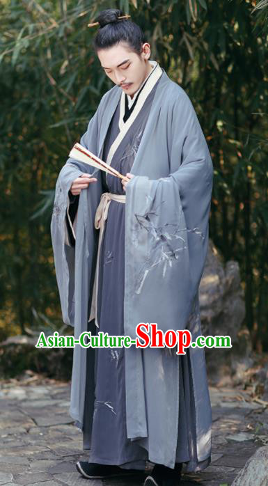 Ancient Chinese Jin Dynasty Hermit Scholar Hanfu Clothing Traditional Nobility Childe Replica Costume for Men