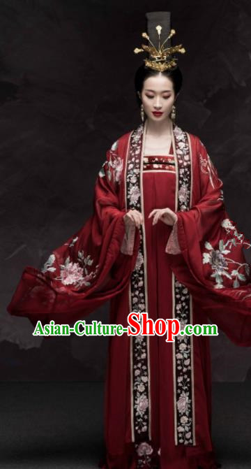 Traditional Chinese Tang Dynasty Empress Wedding Red Hanfu Dress Ancient Palace Queen Replica Costumes for Women