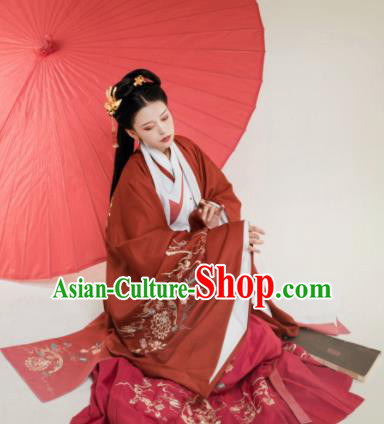 Traditional Chinese Han Dynasty Red Hanfu Dress Ancient Court Princess Embroidered Replica Costumes for Women