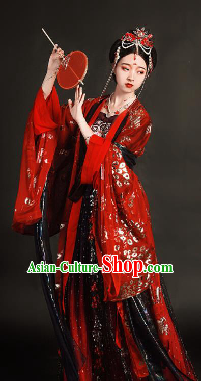 Traditional Chinese Tang Dynasty Wedding Hanfu Dress Ancient Princess Bride Replica Costumes for Women