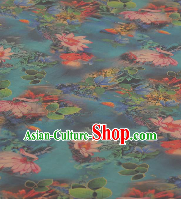 Asian Chinese Classical Lotus Pattern Green Gambiered Guangdong Gauze Traditional Cheongsam Brocade Silk Fabric