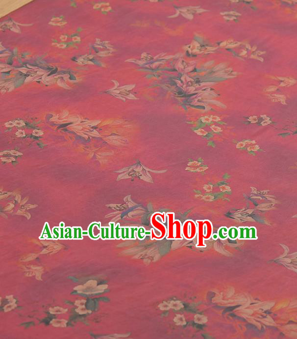 Asian Chinese Classical Magnolia Pattern Rosy Gambiered Guangdong Gauze Traditional Cheongsam Brocade Silk Fabric