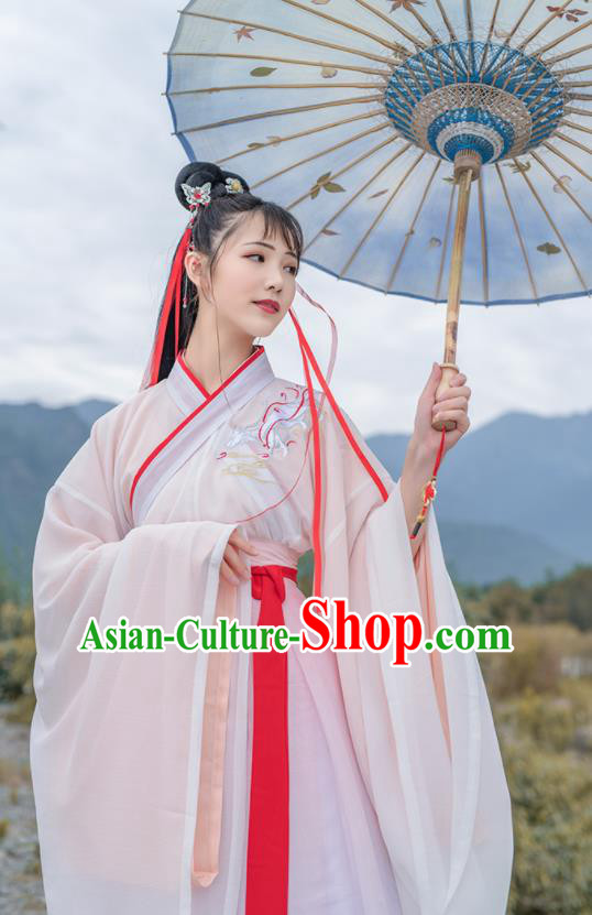 Chinese Ancient Han Dynasty Historical Costume Antique Traditional Court Princess Hanfu Dress for Women