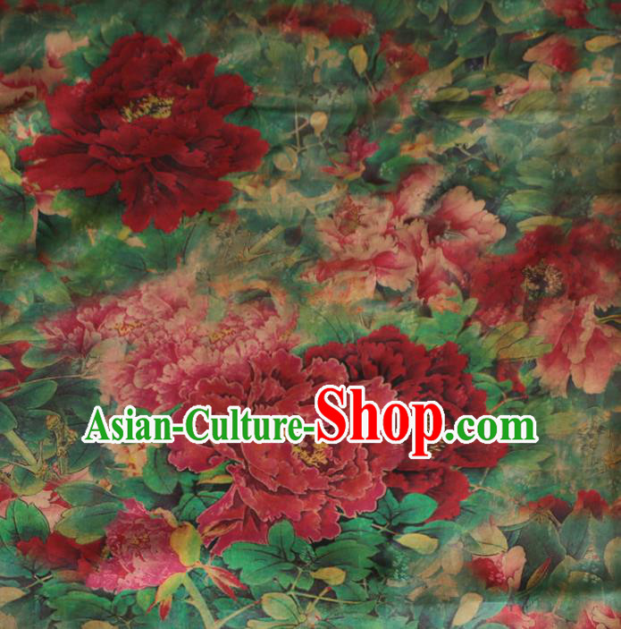Asian Chinese Classical Peony Pattern Green Gambiered Guangdong Gauze Satin Drapery Brocade Traditional Cheongsam Brocade Silk Fabric