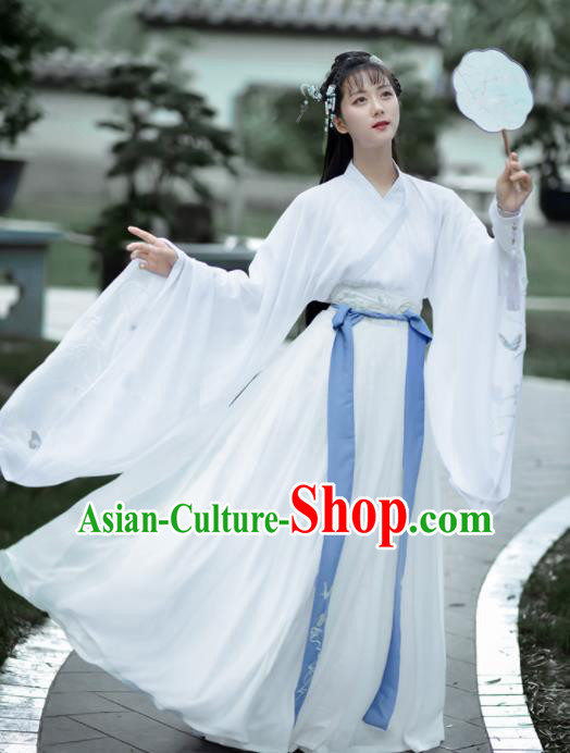 Chinese Ancient Embroidered Hanfu Dress Antique Traditional Jin Dynasty Nobility Lady Historical Costume for Women